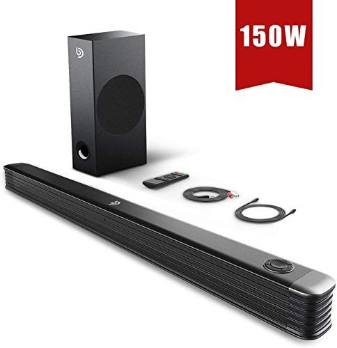 Sound Bar, Bomaker TV Soundbar with Wirless Subwoofer, 150W 2.1 Sound Bar,34 Inch Wired & Wireless Bluetooth 5.0,Optical/Aux/USB/Coaxial,Wall Mountable,Bass Adjustable Surround Sound for Home The ater