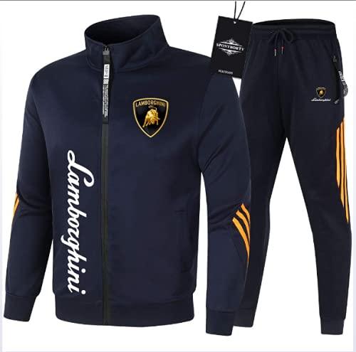 Juego De Chándales para Hombre Jogging Fit Lambo-Rghini Hoodie Chaqueta con Cremallera + Pantalones Hoodie Vestidos De Baloncesto Gimnasio,Azul,XL