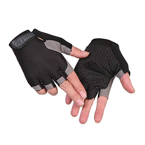 Cycling Gloves for Women,Dirt Bike Gloves Men Motorcycle Mountain MTB Dirt Riding Road Padded Half Finger Shockproof Absorbing Short Breathable Durable Anti Slip,Black,S Palm circu 18cm