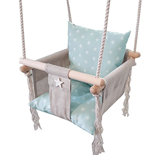 Golden Kids Babyschaukel Babysitz Baby Kinderschaukel Holz Stoff Schaukel zum Aufhängen Baumschaukel (Grau)