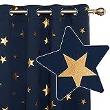 Deconovo Cortinas Dormitorio Moderno para Ventanas de Habitación Juvenil Diseño Estrellas Estampados Dorados con Ojales 2 Paneles 117 x 229 cm Azul Marino