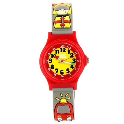 Baby Watch - Abc Pin Pon - Montre Garçon - Quartz Pédagogique 3-6 ans - Cadran Jaune - Bracelet Plastique Gris