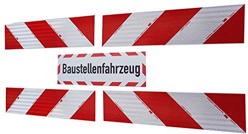 UvV Set 4 Stück 3M-Folien magnetische Kfz-Warnmarkierung Typ 3410 Anwendungspaket Plus 45x15 cm Magnet Schild reflektierend - Baustellenfahrzeug-