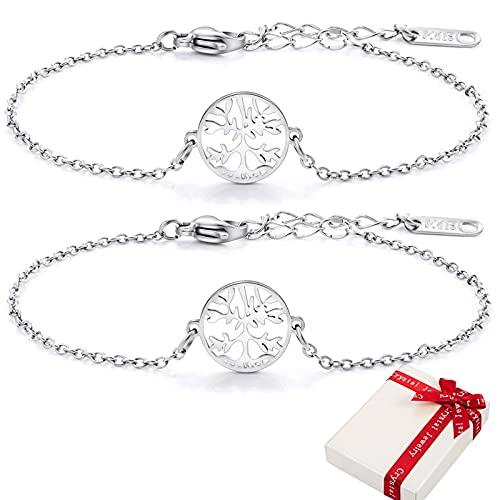 2 pulseras de árbol de la vida para mujer y niña, ajustables, de acero inoxidable 316, con caja de regalo