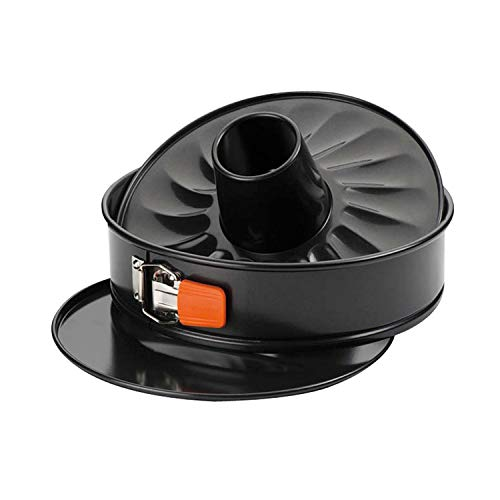 Le Creuset 941023260 Set de Molde redondo con corona Desmontable,Ø 24 cm,Libre de PFOA, Resistente a ácidos, Revestimiento de Acero al Carbono, recubierta, Naranja/Gris,26 cm