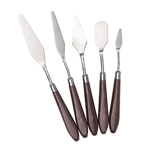 YLSZHY Juego de 5 espátulas de crema para tartas, de acero inoxidable, con mango de madera, herramienta de pintura, decoración de pasteles y espátulas de glaseado