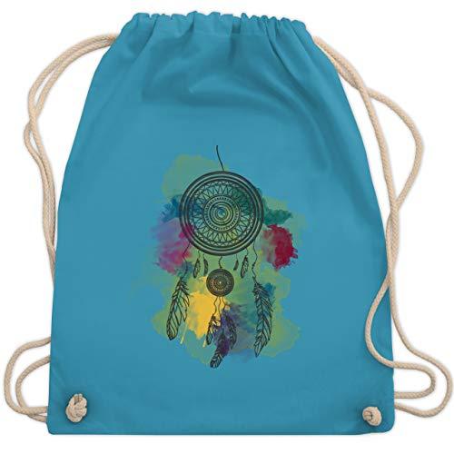 Shirtracer Statement - Traumfänger Wasserfarbe Dreamcatcher Watercolor - Unisize - Hellblau - WM110_Stoffbeutel - WM110 - Turnbeutel und Stoffbeutel aus Baumwolle
