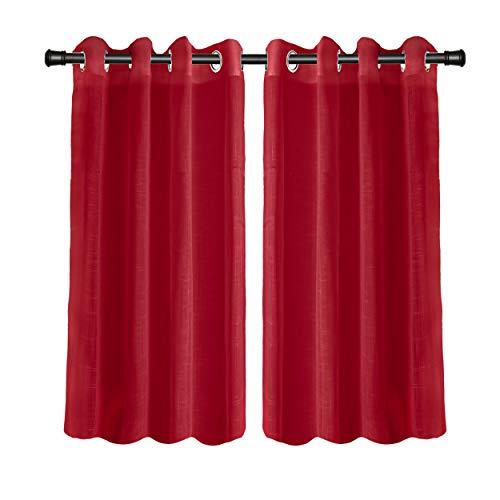 H HANSEL HOME Cortinas Salón o Dormitorio Translúcida/Semitransparente Cortina Habitación para Ventanas 100% Hilo de Poliester 140 x 260 cm, 2 Piezas Rojo