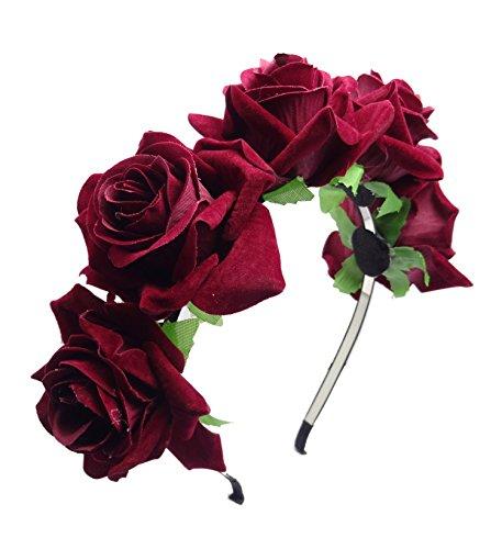 keland Fleur Serre Tête Accessoire Bandeau Cheveux Mariage Cérémonie Plage Voyage Couronne de Fleur Tête Garland Pour Femmes Filles (Rouge foncé)