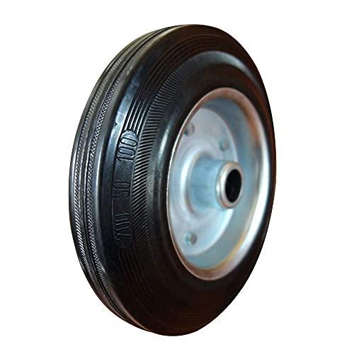 YEEGO Rueda de repuesto de 8 pulgadas de repuesto de rueda de goma neumático de goma sólido saco de goma carro de mano ruedas (negro)