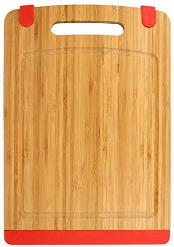 COM-FOUR Tabla de cortar redonda de bambú de 35 cm de diámetro, bandeja para servir (01 pieza - 35cm / redondo)
