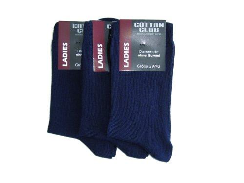 Cotton Club 3 Paar Damensocken ohne gummi Gr. 35-38, 39-42 (39-42, Marine (dunkel blau))