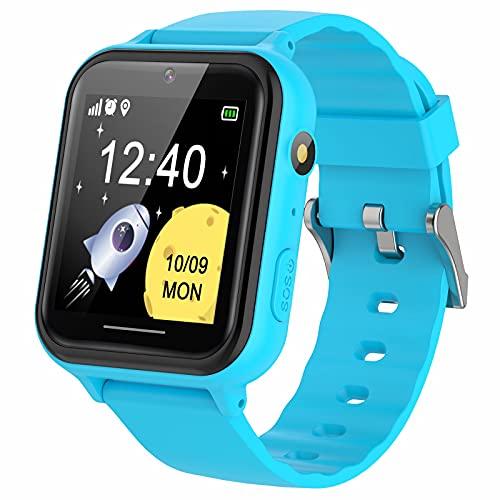 PTHTECHUS Smartwatch per Bambini con Lettore Musicale - Orologio Intelligente per Ragazzo e Ragazza Touch Screen con video Contapassi Giochi Torcia, Regalo di Compleanno per Ragazzi e Ragazze