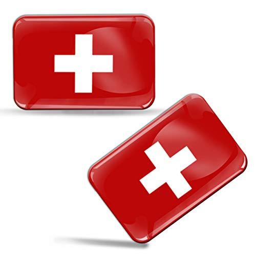 Biomar Labs® 2 x Aufkleber 3D Gel Silikon Stickers Switzerland Schweiz Swiss Flagge Fahne Flag Auto Motorrad Fahrrad Fenster Tür PC Handy Tablet Laptop F 54