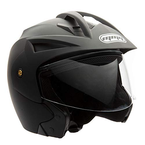 MMG Model 20 Motorcycle Open Face Helmet DOT Street Legal - Flip Up Clear Visor - Matte Black - XXL
