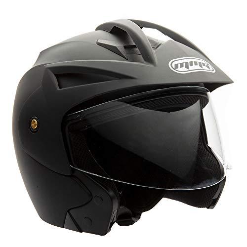 MMG Model 20 Motorcycle Open Face Helmet DOT Street Legal - Flip Up Clear Visor - Matte Black -...