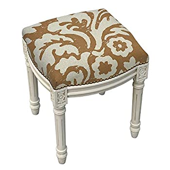 123 Creations Jacobean Foam/Linen/Wood Floral Antique White Finish Nail Head-Accented Vanity Stool