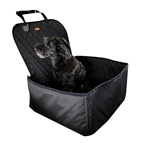 Autositzkissen-TIANMING Wasserdicht mit Sicherheitsgurt Haustier-Auto-Sitzerhöhung Vordersitzbezug for Hund Katze, tragbaren 2-in-1 Hund Sitzschutz Non-Slips (Color : Black)