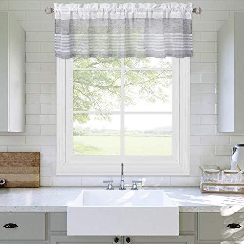 LinTimes Gardine Scheibengardine kurzstore Vorhang klein Fenster Halb Voile Vorhänge für Küche Badezimmer, 137*37cm(54 x 15 Inch), Grau