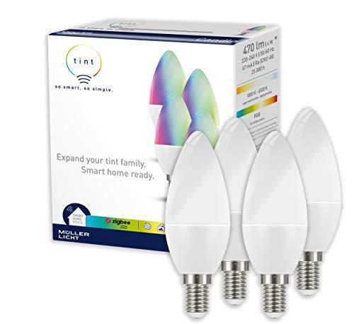 Müller Licht - Bombilla led con forma de vela, Tonos blancos y luz de colores., 4 unidades