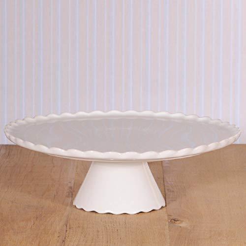 """Ideal für große Torten: Tortenplatte mit Fuß\""""Sweet Flower\"""" in Weiß, Ø 34 cm"""
