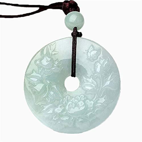 XCHJY Collar Colgante joyería joyería de joyería de joyería Jade Colgante Mano Tallado botón de Seguridad Jade Piedra Collar peonía Flor suéter Cadenas (Color : Green)