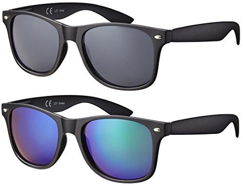 La Optica Original UV400 CAT 3 Unisex Sonnenbrille Nerd - Doppelpack Rubber Schwarz (Gläser: 1 x Grau, 1 x Grün Verspiegelt)