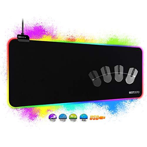 Alfombrilla RGB Alfombrilla Gaming XXL - Alfombrilla de Ratón RGB con 14 Modos de Luz, Alfombrilla Raton Gaming con USB Impermeable Antideslizante, Alfombrillas Gaming RGB para PC y Jugador