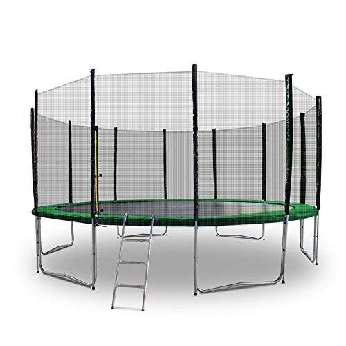 Gartentrampoline Trampoline Mit Leiter Randabdeckung Sicherheitsnetz und Randabeckung (Dunkelgrün, 400cm)