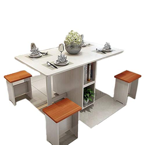 WNN Mesa de Juego de 5 Piezas Blancas + 4 Taburete Mesa de Comedor Mesa de Picnic Silla Langer Retro Madera Plegable Escritorio Mesa de Comedor URG (Color : B, Size : 1.2m)