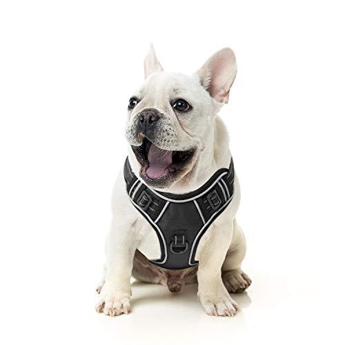 HEELE Hundegeschirr Reflektierend Hundegeschirr Hundesport Gepolstert Brustgeschirr No Pull Geschirr Hund Verstellbares mit Reflektierendem Zuggeschirr Hundegeschirr Mittelgroße Hunde Schwarz M