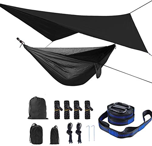 HongXingHai Camping Hammock with Mosquito Net and Rain Fly Outdoor Hammocks Tents for Camping Backpacking Hiking (Navy, L)