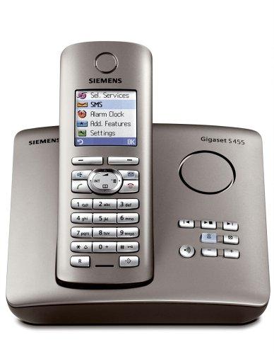 Siemens Gigaset S455, Schnurloses DECT-Komfort-Telefon mit integriertem Anrufbeantworter, platin