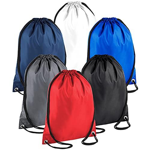 Paquete de 6 bolsas con cordón para gimnasio, bolsa de almacenamiento, bolsa de cuerda para escuela, gimnasio, viajes, natación, niños y adultos, Color Set 2, Talla única