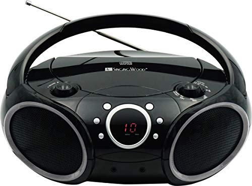 SINGING WOOD 030C Portable CD Player AM FM Analog Tuning Radio, Aux Line in, Headphone Jack, Foldable Carrying Handle (Black with a Touch of Grey Rims)