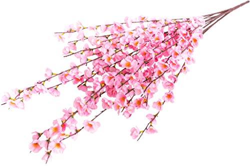 Evergreens künstlicher Frühlingsblütenbusch (Pfirsichblütenbusch) mit 20 Stielen (Dunkelpink)