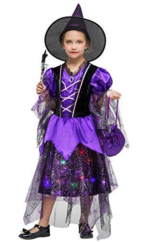 DEMU Mädchen Kinderkostüm Karneval Fasching Hexenkostüm Set LED leucht Hexenhut Hexe Violett M(110-120)