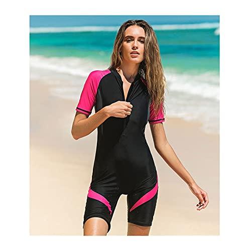 Tauchanzüge, Neoprenanzug Frauen Front Zip Shorty Scuba Rash Guard Badeanzug Jumpsuit Surfen Schwimmen Scuba Tauchen (Color : Red, Size : L)