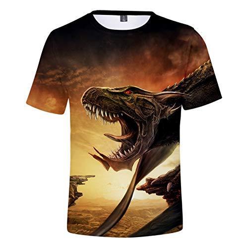 Camiseta Unisex para Niños con Estampado 3D De Animales, Camiseta De Manga Corta con Diseño De Tiburón, Lobo Y Tigre