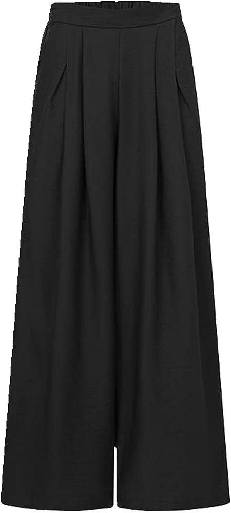 NP Women Wide Leg Pants Autumn Waist Pleated Trouser Casual Loose Elegant Palazzo