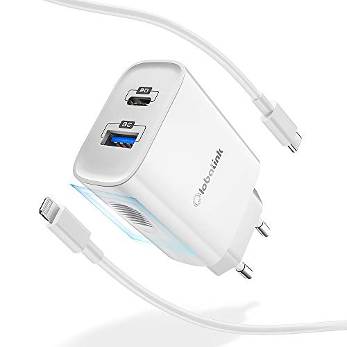 GlobaLink 20W Cargador Rapido iPhone USB C+MFi Cable USB C a Lightning 2M,Cargador Movil Universal con 2 Puertos(USB A y C) Power Delivery 3.0 para iPad,iPhone 12/SE2020/11 Pro Max/11 Pro/11/XS/XR/X/8
