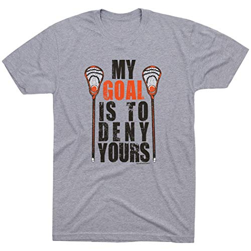 My Goal is to Deny Yours Lacrosse T-Shirt | Lax Tees by ChalkTalk Sports | Sport Gray | Youth Medium