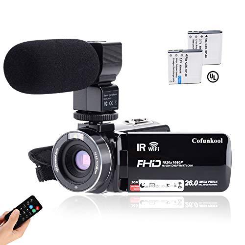 Videocamera CofunKool 1080P 26MP WiFi Video Camcorder Vlogging Camera IR Visione notturna a Infrarossi con Microfono Ricaricabile Telecomando e con Supporto USB, Uscita TV