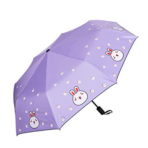 YNHNI Paraguas de impresión de Dibujos Animados Paraguas UV Paraguas Parasol Plegable Lluvia Dual Uso Paraguas Sol Paraguas,Portátil (Color : Purple)