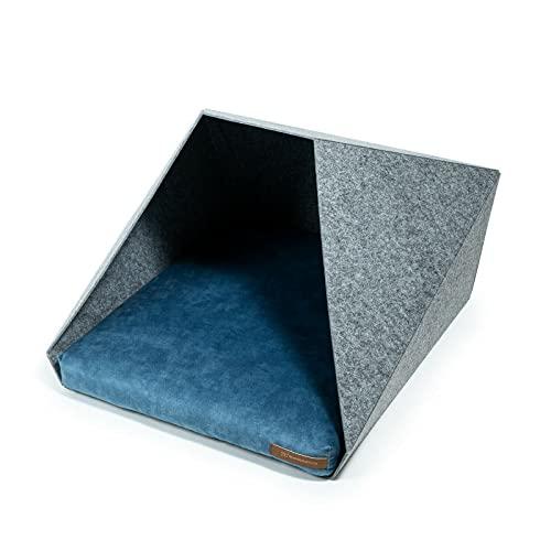R Exproduct Pocket - Caseta para perros de tela ecológica de PET, resistente a los arañazos, gris claro y azul (60 x 45 x 63 cm)