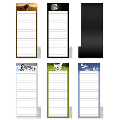 5 Pack Bigger Full Magnetic Back To Do List Notepads for Fridge with Pen Holder, House Chores, Grocery Shopping and Reminders, Animal Theme Designs,9' x 3.5', 50 Sheets/Pack