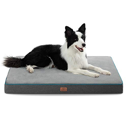 Bedsure Extra Large Memory Foam Dog Bed - Orthopedic Joint Relief Dog Mat with Removable Washable Cover and Waterproof Liner - Plush Flannel Fleece Top with Nonskid Bottom, Pet Bed,Grey