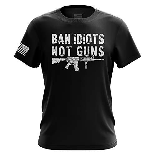 Pro Gun US Flag Military Army Mens TShirt Printed amp Packaged in The USA Ban Idiots Mens XL