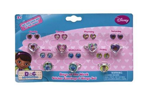 Joy Toy 116013 - Disney Doc McStuffins Sticker-Ohrringe und Ringe, 17 x 11 x 2 cm
