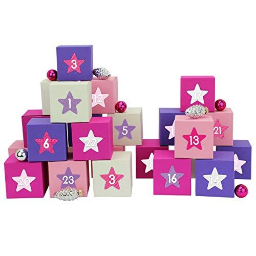 Papierdrachen 24 adventskalender kisten - met cijferstickers om zelf te vullen - 24 zwart-witte dozen om neer te zetten en te vullen - 24 dozen Pink-lilanes motief 1